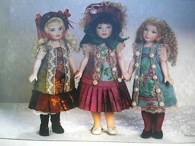 "ANTIQUE French DOLL  3 Dress Patterns FOR  All Bisque GERMAN Mignonette  8"" Doll"
