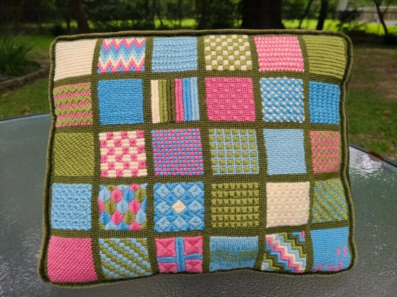 "Designer Needlepoint 1973 Vintage ""Persian PATCHWORK Pillow"" 14"" X 11"" X 3"""