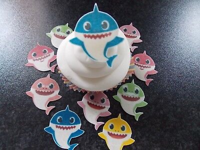 12 PRECUT  Edible Baby Shark wafer/rice paper cake/cupcake toppers ()