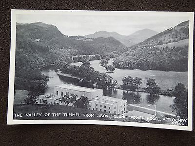 BLACK & WHITE POST CARD OF THE TUMMEL VALLEY & CLUNIE POWER STATION PITLOCHRY PE