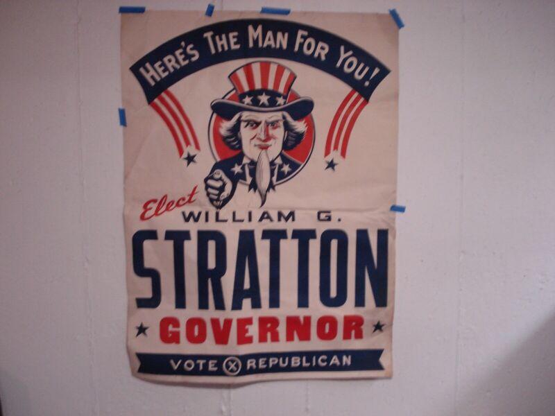 William Stratton Illinois (R) Governor 1952-60 political Campaign Posters-2 pc