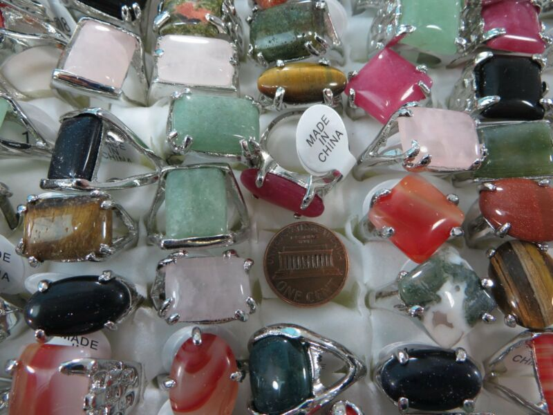 20 rings wholesale turquoise agate gemstone rings fashion jewelry lot