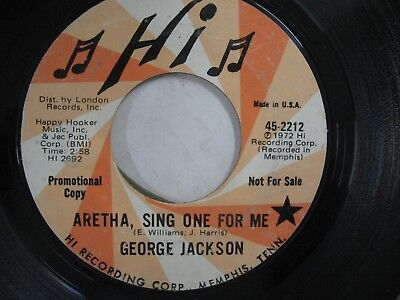 George Jackson  Aretha, Sing One For Me / I'm Gonna Wait 45 Crossover Soul Hi DJ