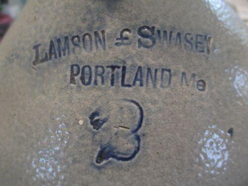 1880s Lamson & Swasey Portland Maine Crock Jug Blue Decorated Stoneware saltglaz