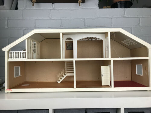 Vintage Lundby Stockholm dollhouse with white trims