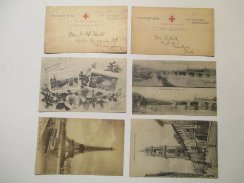 WW1 U.S. ARMY SOLDIER POSTCARD LOT. FROM EUROPE TO HOME. HARRY M HALL AEF