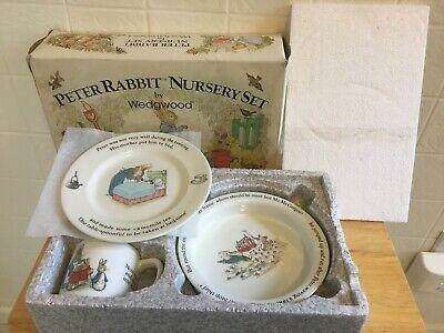 Peter Rabbit Nursery Children's Dish Set by Wedgwood Beatrix Potter 3 Pcs NOS
