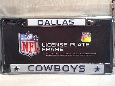 Dallas Cowboys WHITE Metal Chrome License Plate Frame Auto Truck Car 6