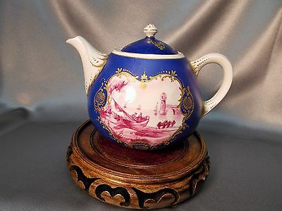Fine Antique Hand Painted Scenic Continental Porcelain French? Sevres? Teapot