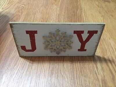 NEW! Hallmark, Wooden JOY Snowflake Christmas Table Decor Sign Plaque Red