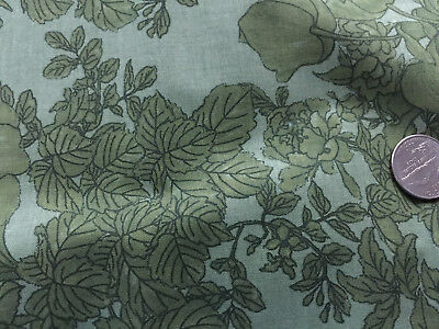 100 % COTTON IN MY GARDEN OLIVE  GREEN FLOWERS LEAVES   BY THE YARD QUILT FABRIC