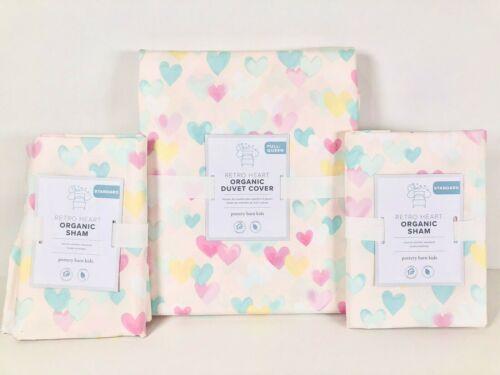 NEW Pottery Barn Kids Organic Retro Heart Full/Queen Duvet Cover & Shams, Pink