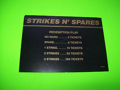 Gottlieb STRIKES N SPARES Original Flipper Game Pinball Machine Instruction Card