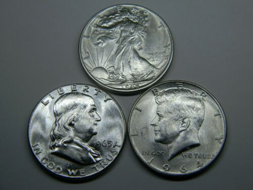 3 BU UNCIRCULATED SILVER HALVES * AWESOME WALKING LIBERTY * FRANKLIN * KENNEDY