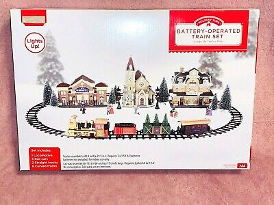 New 12 Piece TRAIN SET CHRISTMAS VILLAGE LIGHTS BATTERY OPERATED Holiday Time