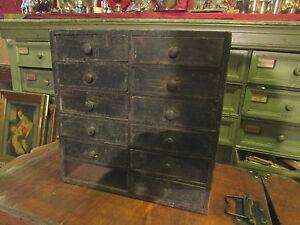 ancien petit meuble casiers a tiroirs 19e de metier horloger pin peint ebay. Black Bedroom Furniture Sets. Home Design Ideas