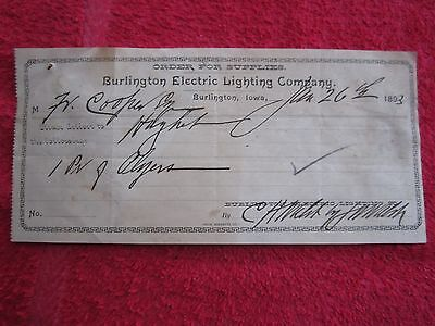 1893 BURLINGTON IOWA ELECTRIC LIGHTING COMPANY ORDER FOR SUPPLIES RECEIPT