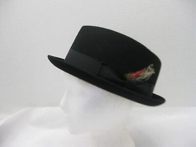 Wool Felt Blues Brothers Hat Trilby Fedora Black with Feather Choose Size #9982 (Felt Hat With Feather)