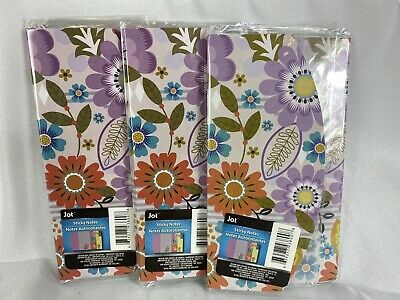160 Jot Flower Printed Sticky Notes Memo Pad Trifold Booklet Set Lot Of 3