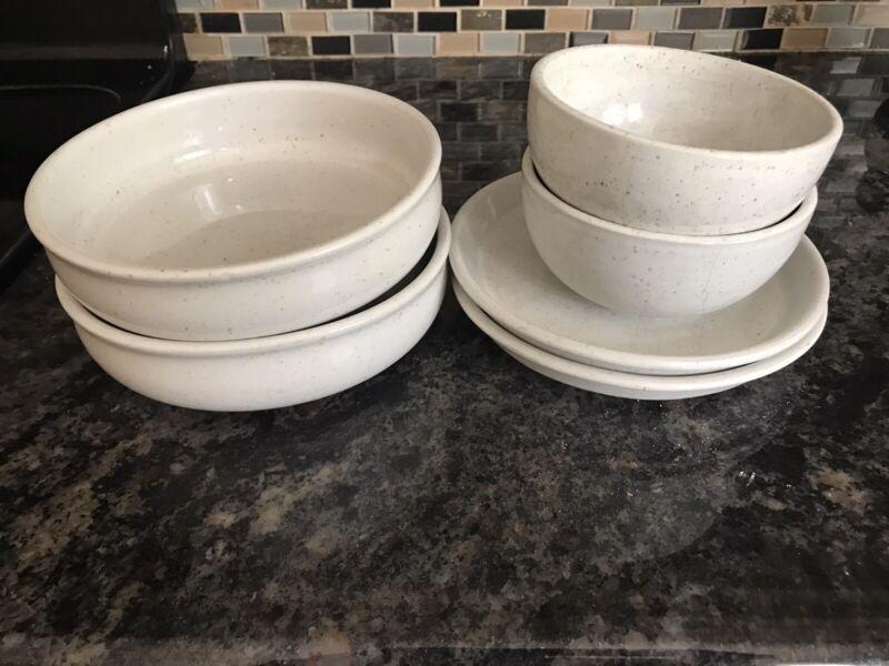 Dansk Lindestone Oatmeal Set Of 2 Each: Salad/soup Bowl, Fruit Bowl,Salad Plate