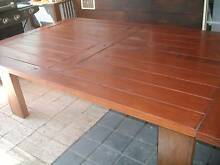 WOODEN DINING TABLE /OUTDOOR  WITH W.IRON & RATTAN CHAIRS Pinjarra Murray Area Preview