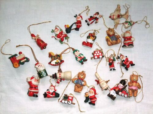 Large LOT of 25 miniature CHRISTMAS ORNAMENTS for small trees VINTAGE