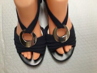 Impo Stretch BLACK Wedge Sandals Sz US 7.5 M