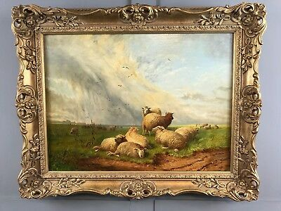 Thomas Sidney Cooper Original Oil Painting Sheep Grazing Antique Rare Fine Art *