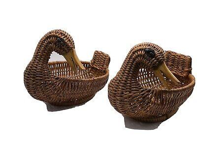 Two Wicker Duck Baskets Vintage Farmhouse Chic 7