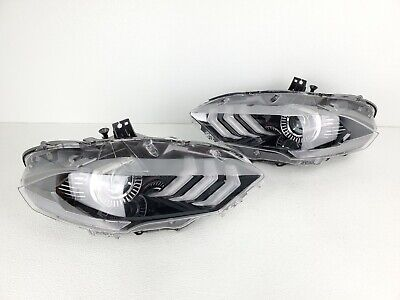 NICE! 18-20 FORD MUSTANG LH DRIVER RH PASSENGER LED HEADLIGHT SET PAIR EURO OEM