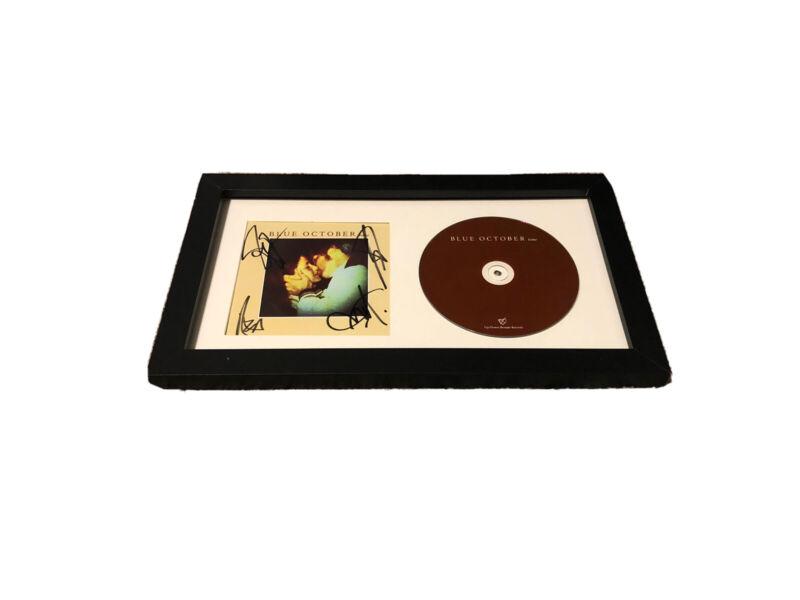 BLUE OCTOBER SIGNED AUTOGRAPH HOME CD FRAMED MATTE DISPLAY JUSTIN FURSTENFELD +3