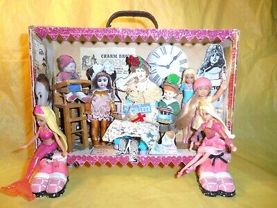 OOAK Cigar Box Art Mother Goose Rhyme So Many Children Mixed Media Collage