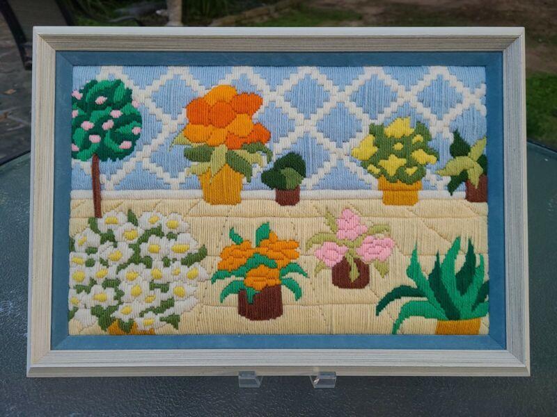 "Vintage~1960s❤1970s Crewel~Embroidered~Needlepoint~Framed Art~19"" x 13.5"" GROOVY"