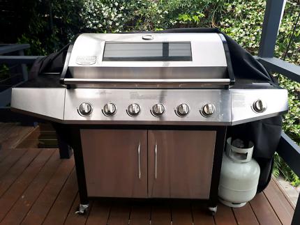Stainless Steel 6 Burner BBQ with Hood & Side Burner
