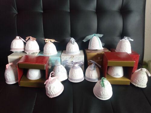Vintage Lladro Christmas Bell Porcelain Ornaments Lot of 15