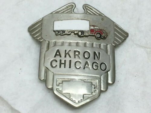 Vintage Akron Chicago Transportation Trucking Company Hat Badge Semi-truck