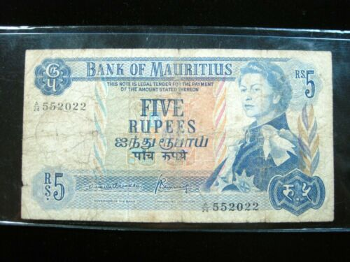 MAURITIUS 5 RUPEES 1967 P30 ISLAND BRITISH QEII 022# CURRENCY BANKNOTE MONEY