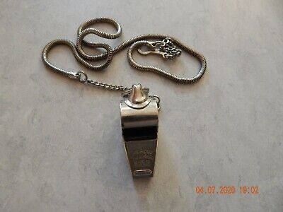 Vintage ACME THUNDERER WHISTLE  Made in England WITH CHAIN