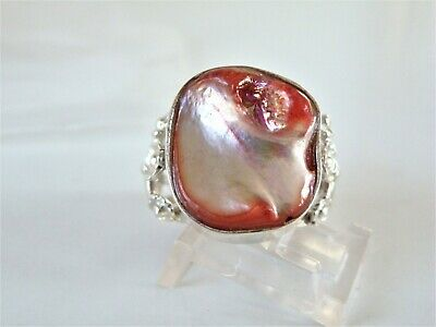 Vintage Large Sterling Silver 925 Pink Blister Pearl Flower Floral Ring Size 8 Pink Pearl Flower Ring