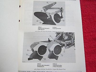 1978 Jd John Deere 30 Series 1 2 Bottom Moldboard Plow Parts Catalog Manual