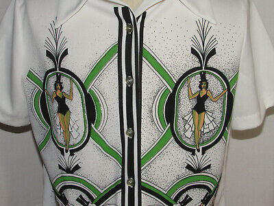 1970s Men's Shirt Styles – Vintage 70s Shirts for Guys VINTAGE 1970s DOUBLE KNIT POLYESTER SHIRT W/BURLESQUE GRAPHICS FRONT & BACK! 40 $120.99 AT vintagedancer.com