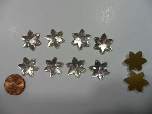 10 Vintage Glass Crystal shaped flowers