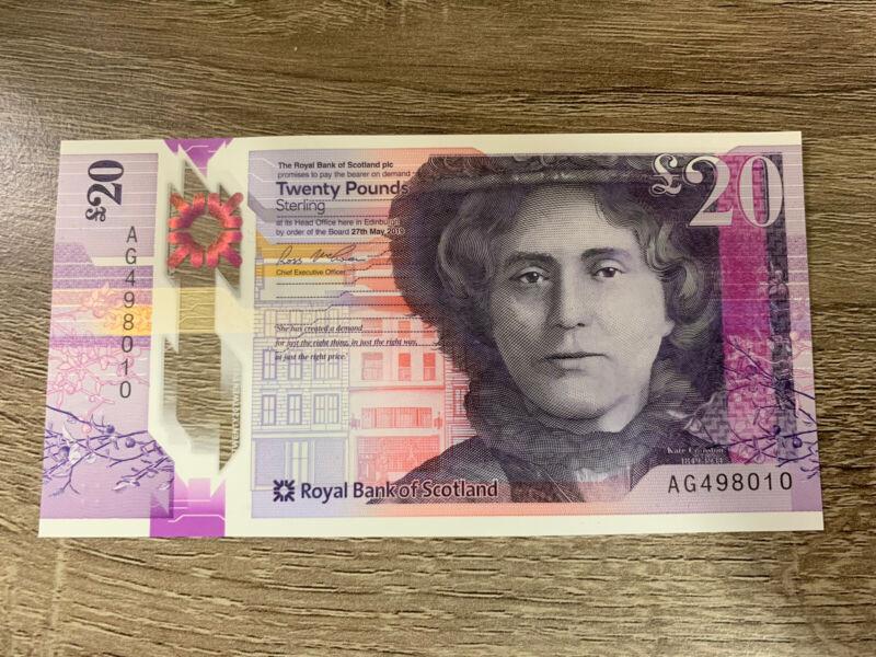 20 Scottish Pound Banknote. Scotland Royal Bank 20 pounds UNC. Kate Cranston.