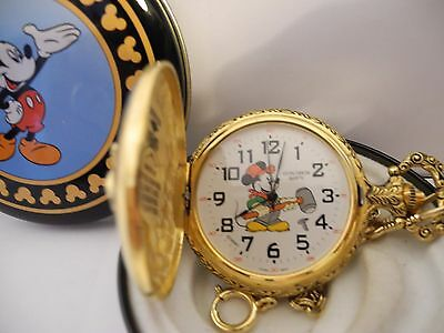 DISNEY MICKEY MOUSE POCKET WATCH RAILROAD WORKER NEW DISNEY TIN RARE LOWER $$