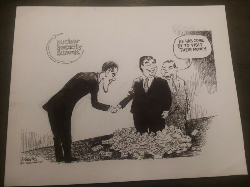 2010 Jack Higgins Political Cartoon President Obama Nuclear Security Summit