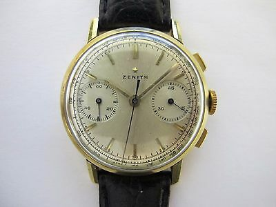 ZENITH VINTAGE CHRONOGRAPH 18K GOLD 35MM WORKING GOOD