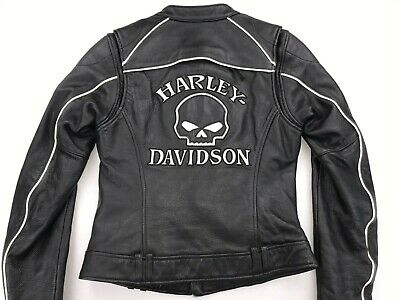 HARLEY DAVIDSON WILLIE G REFLECTIVE SKULL WOMEN'S LEATHER JACKET XS 98152-09VW