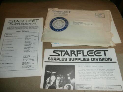 Vintage Starfleet Star Trek Membership Papers Certificate Memo Pads Letters ect