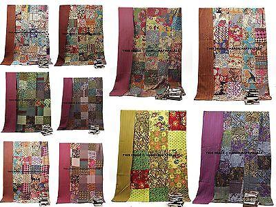 Indian Twin Size Multi Color Patchwork Kantha Quilt Reversib