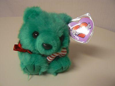 Puffkins Plush JINGLES Green Bear CandyCane #6670 SWIBCO Birthdate 12-15-97 NWT